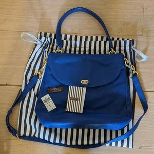 NWT Henri Bendel Sutton Blue Leather Satchel